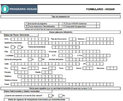 carga de formulario programa hogar explicaci 211 n oficial