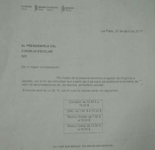NUEVOS VALORES PARA EL COMEDOR ESCOLAR